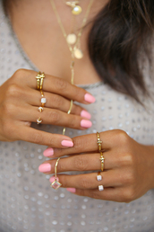 jewels,ring,pink nails,gold ring,gold,jewelry,gold jewelry,necklace,gold necklace,nail polish,nails,pink nails rings,pink,rings and tings