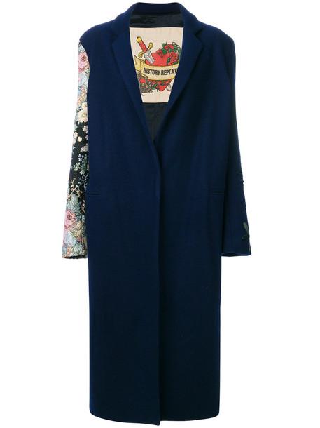 History Repeats coat women jacquard floral blue wool