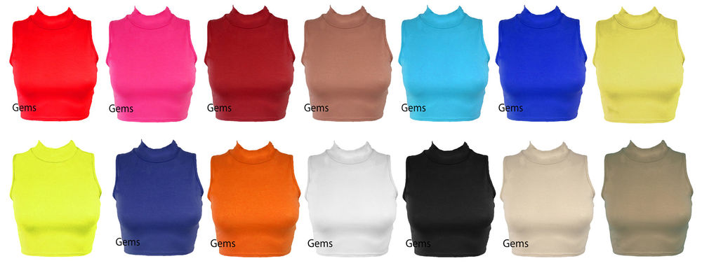 WOMENS LADIES SLEEVELESS POLO TURTLE NECK STRETCH CROP VEST TOP SIZE 8-14 | eBay