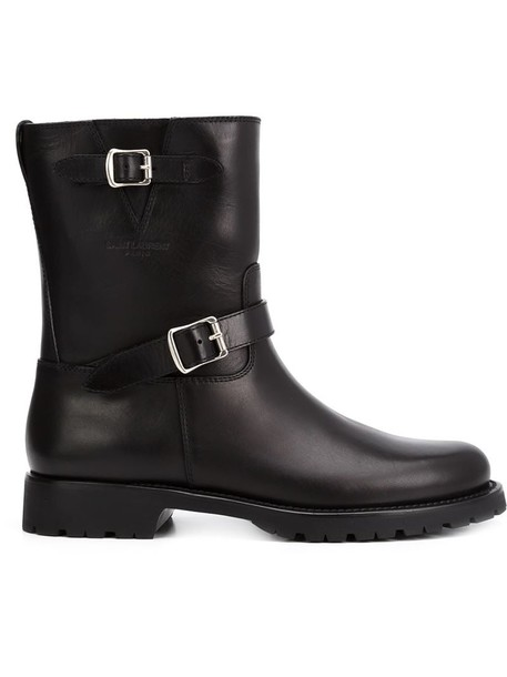 Saint Laurent biker boots women boots leather black shoes