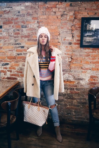 fashionably kay blogger jacket jeans shoes hat teddy bear coat beanie spring outfits ankle boots louis vuitton bag