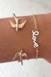 jewels,gold,jewelry,bracelets,gold bracelet,birds,sabo skirt,oiseaux,jewerly,love,left,bird braclet,fake gold