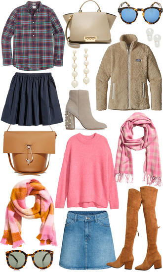cortinsession blogger top bag sunglasses skirt jewels jacket shoes sweater scarf fall outfits handbag denim skirt ankle boots pink sweater