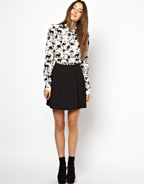 Monki | Monki Textured Skater Skirt at ASOS