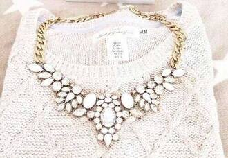 jewels necklace jewelry white necklace rhinestone necklace