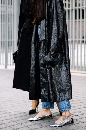 coat tumblr black coat long coat leather coat leather denim jeans blue jeans mid heel sandals slingbacks sandals sequin shoes sequins bag black bag streetstyle glove heels