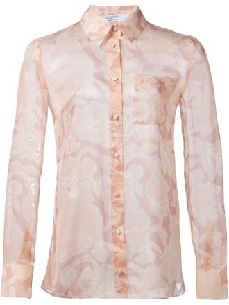 shirt sheer shirt sheer floral print purple pink top