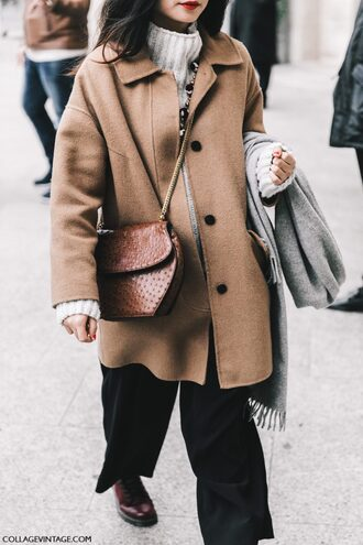 coat fashion week 2017 tumblr fashion week street style streetstyle camel camel coat oversized coat camel oversized coat sweater white sweater turtleneck sweater turtleneck bag crossbody bag brown bag chain bag pants black pants scarf grey scarf