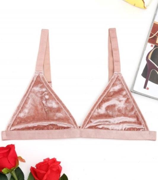 underwear girly pink velvet crushed velvet triangle triangle bralette triangle top bralette