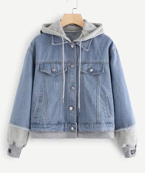 jacket girly blue denim jacket denim grey grey sweater hoodie
