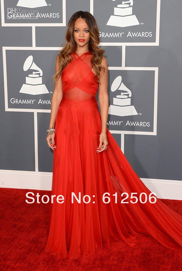 Rihanna 2013 Sexy Grammy Awards Red Chiffon Sheer Halter Ruffles Celebrity Dresses 2666-in Celebrity-Inspired Dresses from Apparel & Accessories on Aliexpress.com