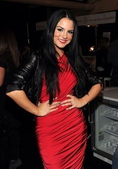 dress,jojo fletcher,beautiful,red,red dress,motorcycle jacket,black,leather jacket