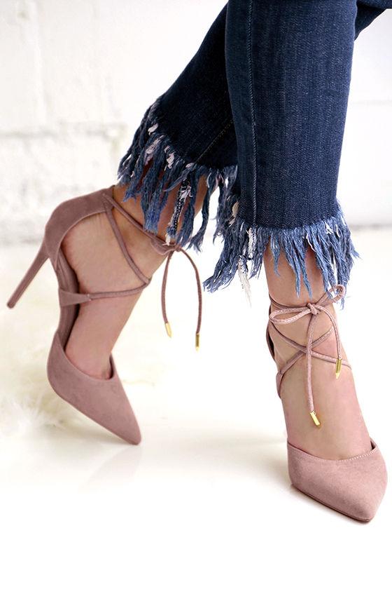 Dani Dusty Rose Suede Lace-Up Heels