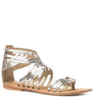 Leather caged gladiator sandals