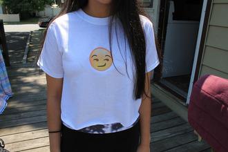 lookbook style t-shirt love more emoji print yolo help smiley needed