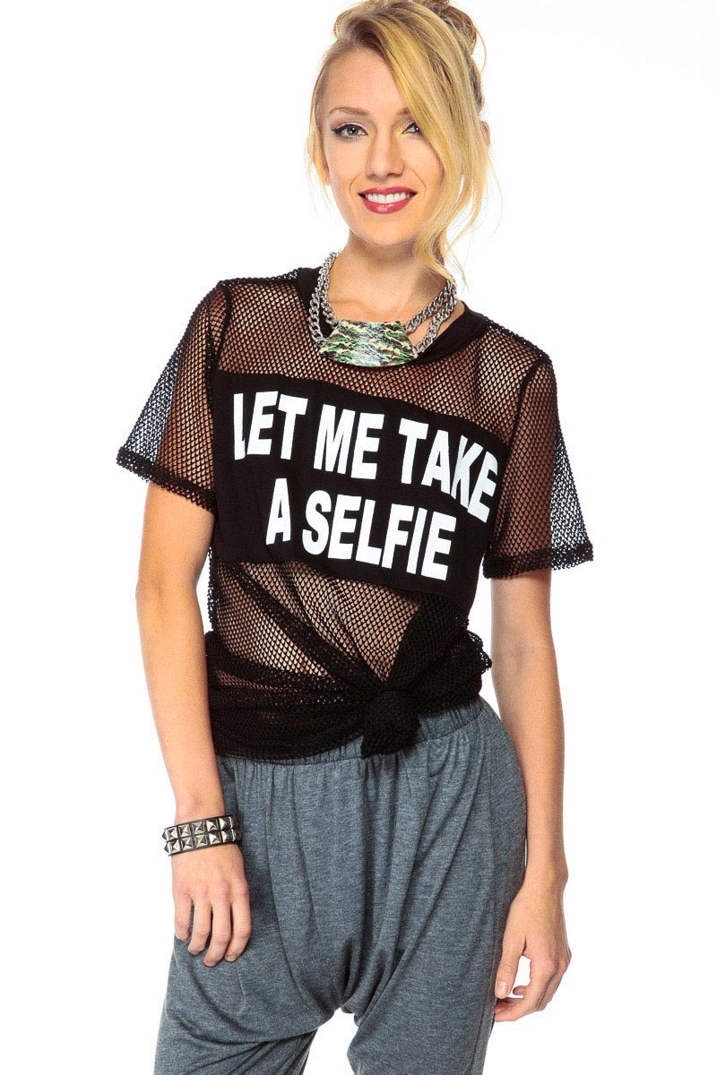 But First Let Me take a Selfie Black Netted Tee @ Cicihot sexy dresses,sexy dress,prom dress,summer dress,spring dress,prom gowns,teens dresses,sexy party wear,ball dresses