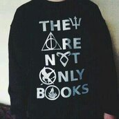 sweater,book,harry potter,the hunger games,nerd,divergent,deathlyhallows