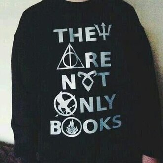 sweater books harrypotter hungergames nerd divergent deathlyhallows