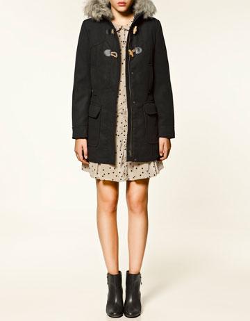 duffle coat en tissu de laine trf manteaux collection femme zara france. Black Bedroom Furniture Sets. Home Design Ideas