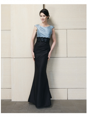 Buy Fashionable Capped Sleeves Full Length Satin Evening Dress under 200-SinoAnt.com
