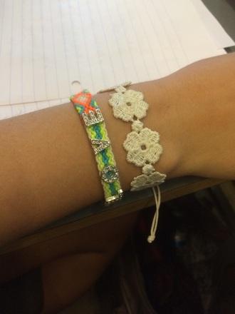 jewels bracelets flowers coton fashion