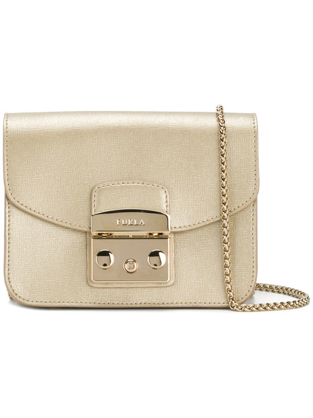 Furla cross mini women bag leather grey metallic