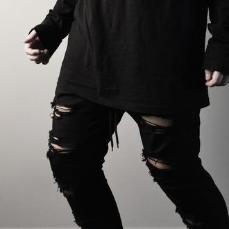jeans menswear black blvck blvck scvle steet class urban goth ninja street goth
