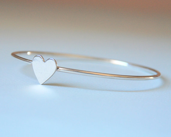 Heart bangle bracelet sterling silver solid silver by sevimsdesign