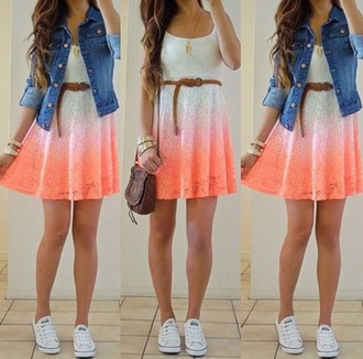 dress orange dress ombre dress waist belt