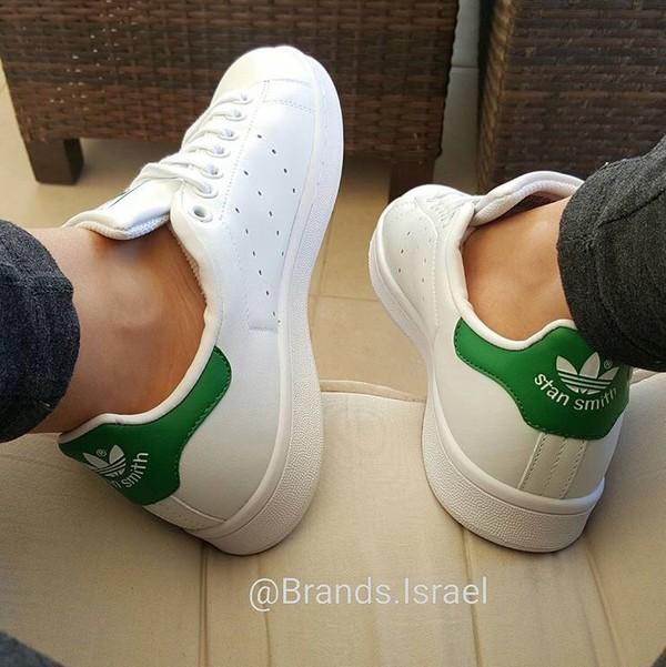adidas white & green gazelle trainers