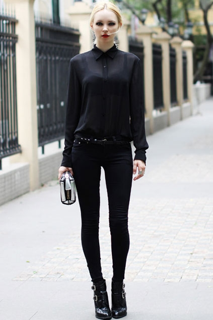 Sexy Sheer Long Sleeve Slim Blouse - OASAP.com