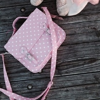 bag pink purse kawaii white polka dots messenger bag cute kawaii bag