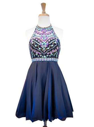 dress halter short homecoming dress blue dress
