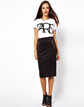 ASOS | ASOS Embossed Pencil Skirt with Zips at ASOS