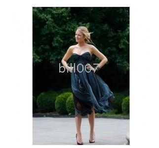 Serena a line sweetheart tea length tulle/ organza gossip girl fashion dress season 3 formal gowns