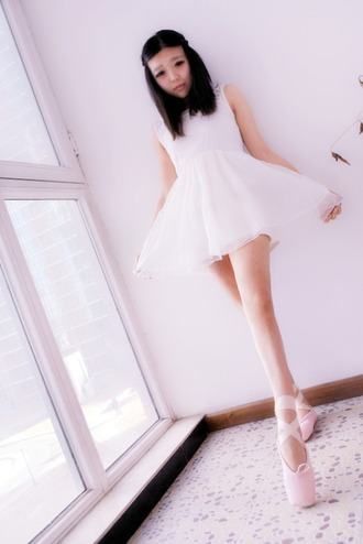 dress kawaii pink pastel pastel pink kawaii girl ballet dress style cute ballet flats japanese fashion floral japanese