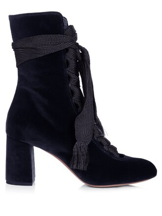 boots ankle boots velvet ankle boots lace velvet navy shoes