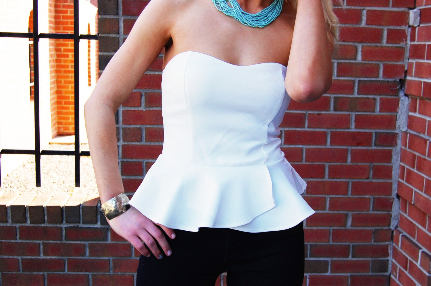White Tube Top - White Strapless Peplum Top | UsTrendy