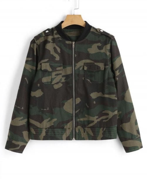 jacket girly camouflage camo jacket zip zip-up zip up jacket