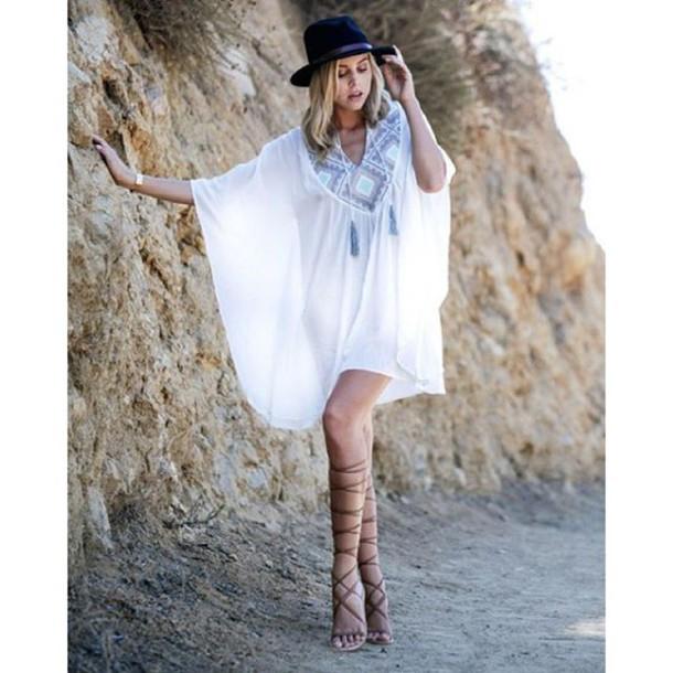 Dress Hawaiian Beach Beach Dress Cover Up Boho Bohemian Style Summer Outfits Beach