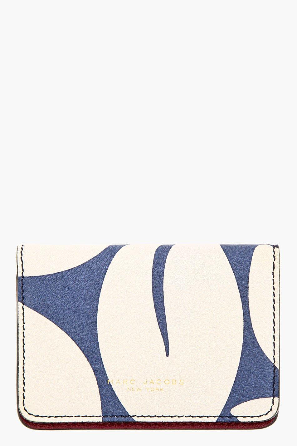 Marc jacobs blue and maroon leaf print wallet