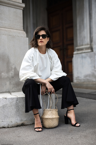 viennawedekind blogger pants top jewels bag shoes sunglasses black pants sandals white blouse basket bag spring outfits
