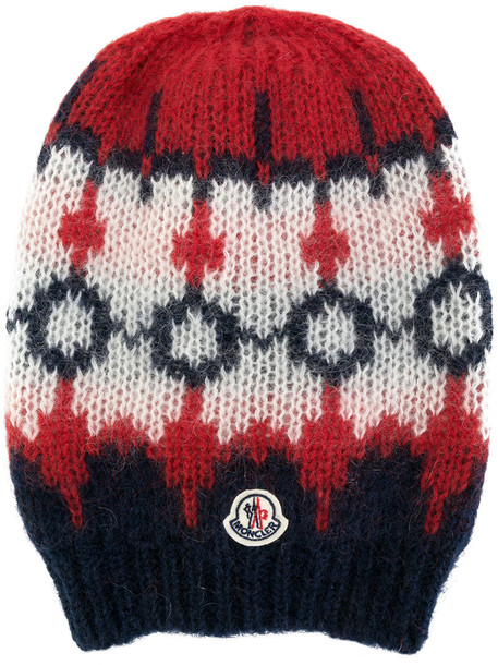 moncler embroidered women mohair hat beanie wool red