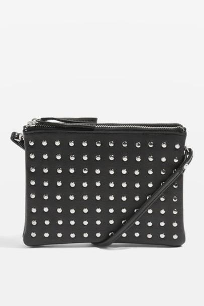 Topshop cross studded bag leather black