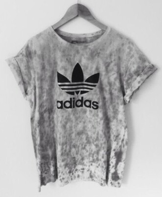 blouse tie dye grey white adidas adidas originals t-shirt