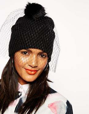 Asos beanie in mohair mix with detachable veil/pom at asos