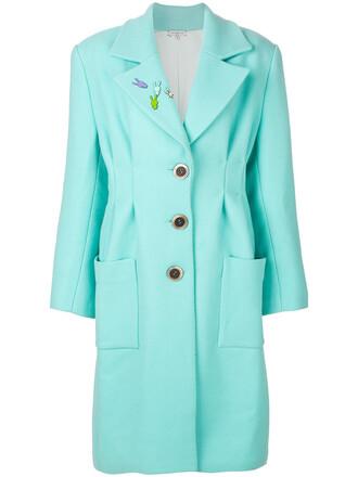 coat oversized bunny women silk wool green