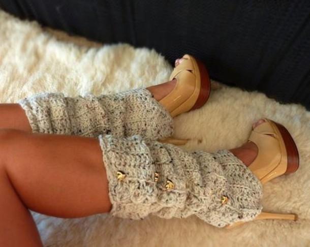 high heels platform shoes underwear leg warmers heart grey shoes sock socks