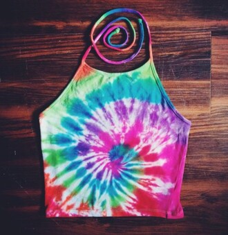 top halter top halter crop top crop tops crop rainbow tie dye shirt summer top shirt tie dye