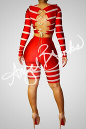 jumpsuit,stripes,red and white,two-piece,set,fitted top,criss cross